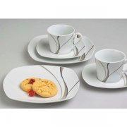 kávový set 18ks, 6x Hrnček šálka na kávu, 6x podšálka, 6x tanier dezetný Scirocco, Gastro